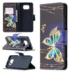Golden Shining Butterfly Leather Wallet Case for Mi Xiaomi Poco X3 NFC