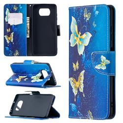 Golden Butterflies Leather Wallet Case for Mi Xiaomi Poco X3 NFC