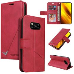 GQ.UTROBE Right Angle Silver Pendant Leather Wallet Phone Case for Mi Xiaomi Poco X3 NFC - Red