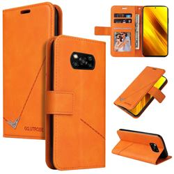 GQ.UTROBE Right Angle Silver Pendant Leather Wallet Phone Case for Mi Xiaomi Poco X3 NFC - Orange