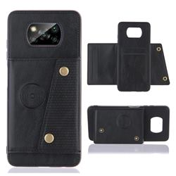 Retro Multifunction Card Slots Stand Leather Coated Phone Back Cover for Mi Xiaomi Poco X3 NFC - Black