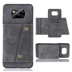 Retro Multifunction Card Slots Stand Leather Coated Phone Back Cover for Mi Xiaomi Poco X3 NFC - Gray