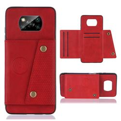 Retro Multifunction Card Slots Stand Leather Coated Phone Back Cover for Mi Xiaomi Poco X3 NFC - Red