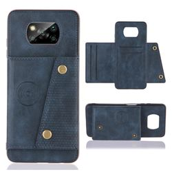 Retro Multifunction Card Slots Stand Leather Coated Phone Back Cover for Mi Xiaomi Poco X3 NFC - Blue