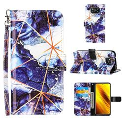 Starry Blue Stitching Color Marble Leather Wallet Case for Mi Xiaomi Poco X3 NFC