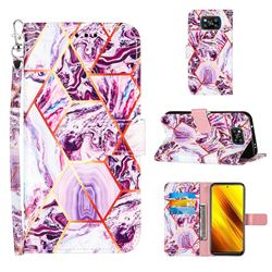 Dream Purple Stitching Color Marble Leather Wallet Case for Mi Xiaomi Poco X3 NFC