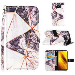 Black and White Stitching Color Marble Leather Wallet Case for Mi Xiaomi Poco X3 NFC