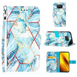 Lake Blue Stitching Color Marble Leather Wallet Case for Mi Xiaomi Poco X3 NFC