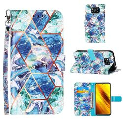 Green and Blue Stitching Color Marble Leather Wallet Case for Mi Xiaomi Poco X3 NFC