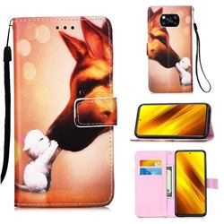 Hound Kiss Matte Leather Wallet Phone Case for Mi Xiaomi Poco X3 NFC