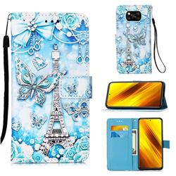 Tower Butterfly Matte Leather Wallet Phone Case for Mi Xiaomi Poco X3 NFC