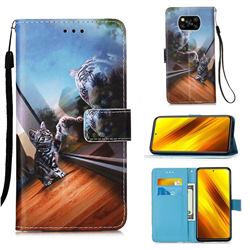 Mirror Cat Matte Leather Wallet Phone Case for Mi Xiaomi Poco X3 NFC
