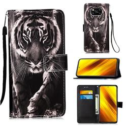 Black and White Tiger Matte Leather Wallet Phone Case for Mi Xiaomi Poco X3 NFC