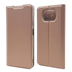 Ultra Slim Card Magnetic Automatic Suction Leather Wallet Case for Mi Xiaomi Poco X3 NFC - Rose Gold