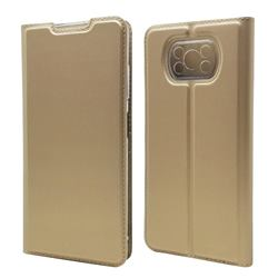 Ultra Slim Card Magnetic Automatic Suction Leather Wallet Case for Mi Xiaomi Poco X3 NFC - Champagne