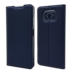 Ultra Slim Card Magnetic Automatic Suction Leather Wallet Case for Mi Xiaomi Poco X3 NFC - Royal Blue