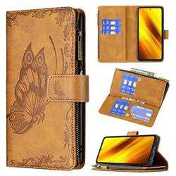 Binfen Color Imprint Vivid Butterfly Buckle Zipper Multi-function Leather Phone Wallet for Mi Xiaomi Poco X3 NFC - Brown