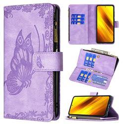 Binfen Color Imprint Vivid Butterfly Buckle Zipper Multi-function Leather Phone Wallet for Mi Xiaomi Poco X3 NFC - Purple