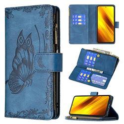 Binfen Color Imprint Vivid Butterfly Buckle Zipper Multi-function Leather Phone Wallet for Mi Xiaomi Poco X3 NFC - Blue