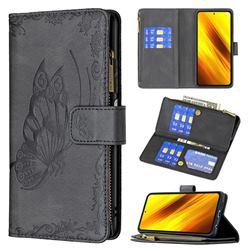 Binfen Color Imprint Vivid Butterfly Buckle Zipper Multi-function Leather Phone Wallet for Mi Xiaomi Poco X3 NFC - Black