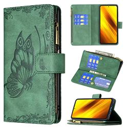 Binfen Color Imprint Vivid Butterfly Buckle Zipper Multi-function Leather Phone Wallet for Mi Xiaomi Poco X3 NFC - Green