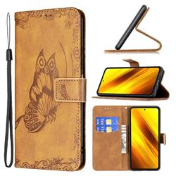 Binfen Color Imprint Vivid Butterfly Leather Wallet Case for Mi Xiaomi Poco X3 NFC - Brown