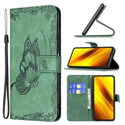 Binfen Color Imprint Vivid Butterfly Leather Wallet Case for Mi Xiaomi Poco X3 NFC - Green
