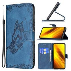 Binfen Color Imprint Vivid Butterfly Leather Wallet Case for Mi Xiaomi Poco X3 NFC - Blue