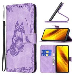 Binfen Color Imprint Vivid Butterfly Leather Wallet Case for Mi Xiaomi Poco X3 NFC - Purple