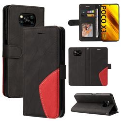 Luxury Two-color Stitching Leather Wallet Case Cover for Mi Xiaomi Poco X3 NFC - Black