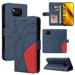 Luxury Two-color Stitching Leather Wallet Case Cover for Mi Xiaomi Poco X3 NFC - Blue