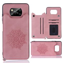Luxury Mandala Multi-function Magnetic Card Slots Stand Leather Back Cover for Mi Xiaomi Poco X3 NFC - Rose Gold