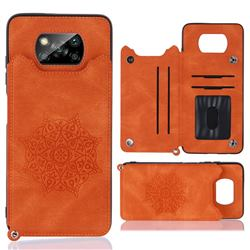 Luxury Mandala Multi-function Magnetic Card Slots Stand Leather Back Cover for Mi Xiaomi Poco X3 NFC - Yellow