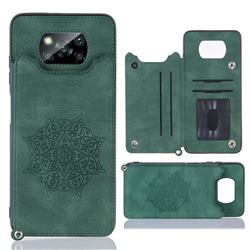 Luxury Mandala Multi-function Magnetic Card Slots Stand Leather Back Cover for Mi Xiaomi Poco X3 NFC - Green