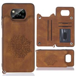 Luxury Mandala Multi-function Magnetic Card Slots Stand Leather Back Cover for Mi Xiaomi Poco X3 NFC - Brown