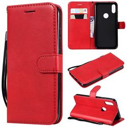 Retro Greek Classic Smooth PU Leather Wallet Phone Case for Xiaomi Mi Play - Red