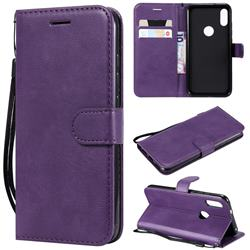 Retro Greek Classic Smooth PU Leather Wallet Phone Case for Xiaomi Mi Play - Purple