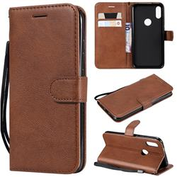 Retro Greek Classic Smooth PU Leather Wallet Phone Case for Xiaomi Mi Play - Brown