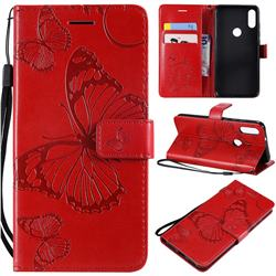 Embossing 3D Butterfly Leather Wallet Case for Xiaomi Mi Play - Red