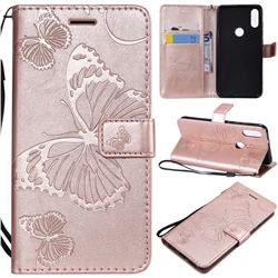 Embossing 3D Butterfly Leather Wallet Case for Xiaomi Mi Play - Rose Gold