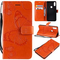 Embossing 3D Butterfly Leather Wallet Case for Xiaomi Mi Play - Orange