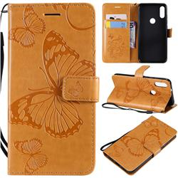 Embossing 3D Butterfly Leather Wallet Case for Xiaomi Mi Play - Yellow