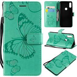 Embossing 3D Butterfly Leather Wallet Case for Xiaomi Mi Play - Green