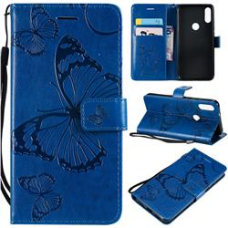 Embossing 3D Butterfly Leather Wallet Case for Xiaomi Mi Play - Blue