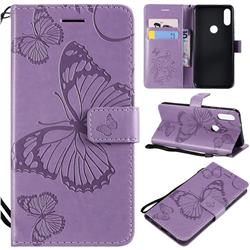 Embossing 3D Butterfly Leather Wallet Case for Xiaomi Mi Play - Purple