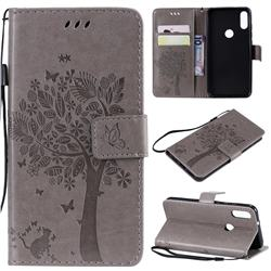 Embossing Butterfly Tree Leather Wallet Case for Xiaomi Mi Play - Grey