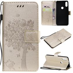 Embossing Butterfly Tree Leather Wallet Case for Xiaomi Mi Play - Champagne
