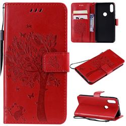 Embossing Butterfly Tree Leather Wallet Case for Xiaomi Mi Play - Red