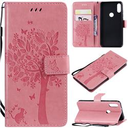 Embossing Butterfly Tree Leather Wallet Case for Xiaomi Mi Play - Pink