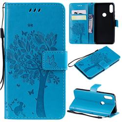 Embossing Butterfly Tree Leather Wallet Case for Xiaomi Mi Play - Blue